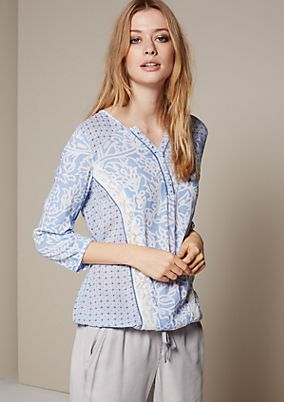 Beautiful blouse with 3/4-length sleeves and an extravagant mix of patterns from s.Oliver