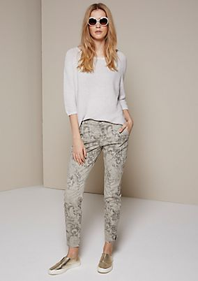 Casual twill trousers with a sophisticated all-over print from s.Oliver