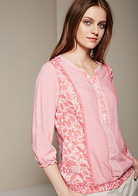 Summery three-quarter sleeve blouse with a sophisticated pattern mix from s.Oliver