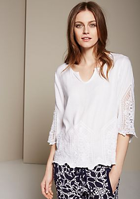 Beautiful summer blouse with 3/4 sleeves and sophisticated embroidery from s.Oliver