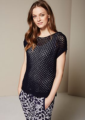 Extravagant short sleeve jumper with an airy knit pattern from s.Oliver