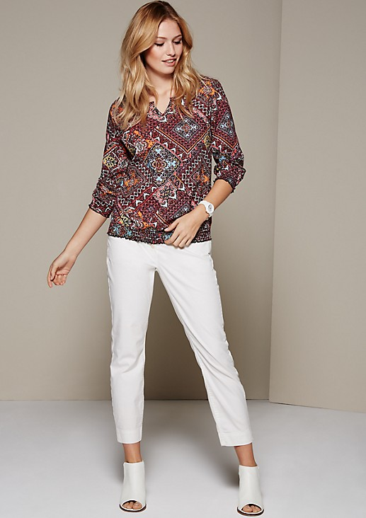 Feminine blouse with a decorative all-over pattern and 3/4-length sleeves from s.Oliver