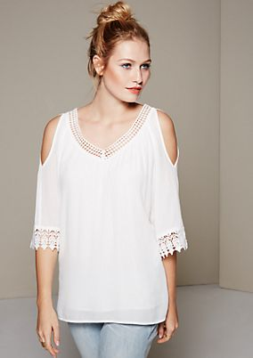 Breezy blouse with pretty lace elements and 3/4-length sleeves from s.Oliver