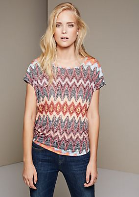 Elegant short sleeve top with a colourful all-over print from s.Oliver