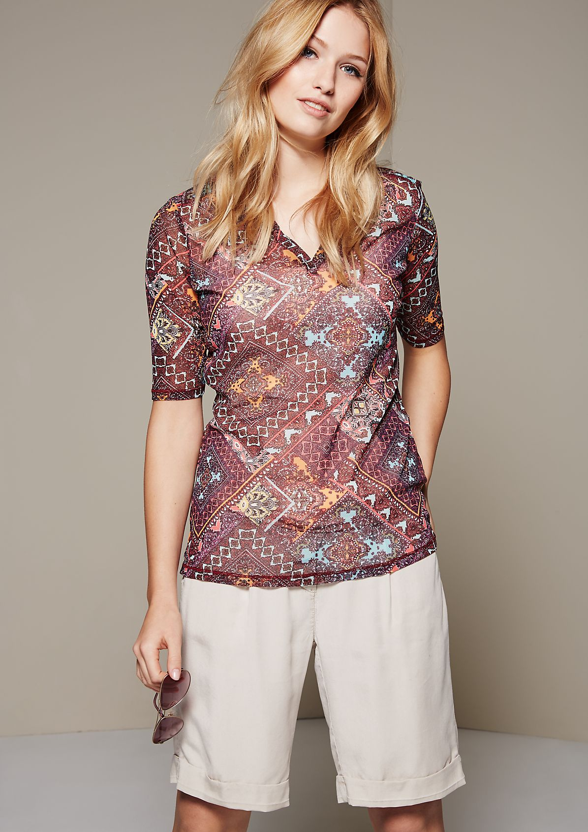 Delicate mesh top with 1/2-length sleeves from s.Oliver