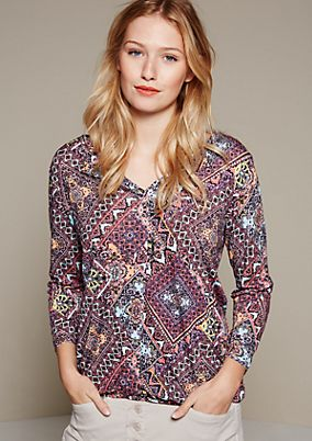 Soft top with a fine all-over pattern and 3/4-length sleeves from s.Oliver