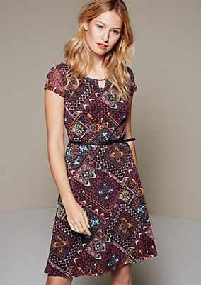 Lightweight mesh summer dress with a colourful all-over pattern from s.Oliver