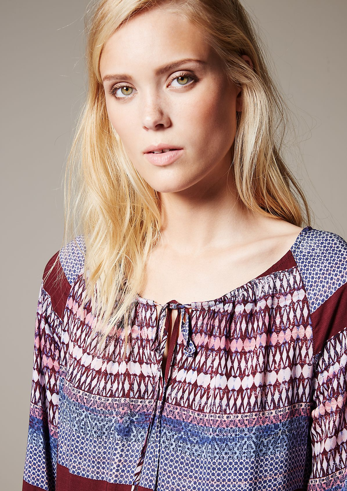 Casual long sleeve blouse with a beautiful mixed pattern from s.Oliver