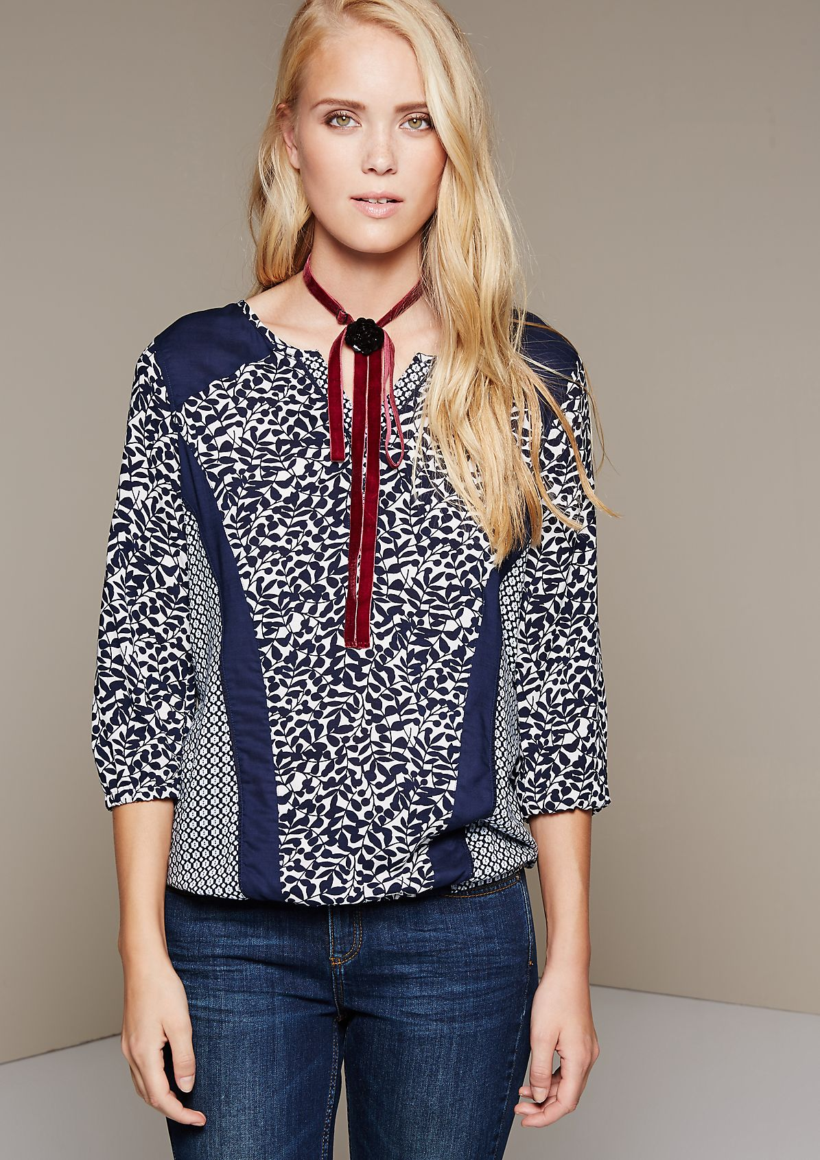 Summery blouse with a sophisticated mixed pattern and 3/4-length sleeves from s.Oliver