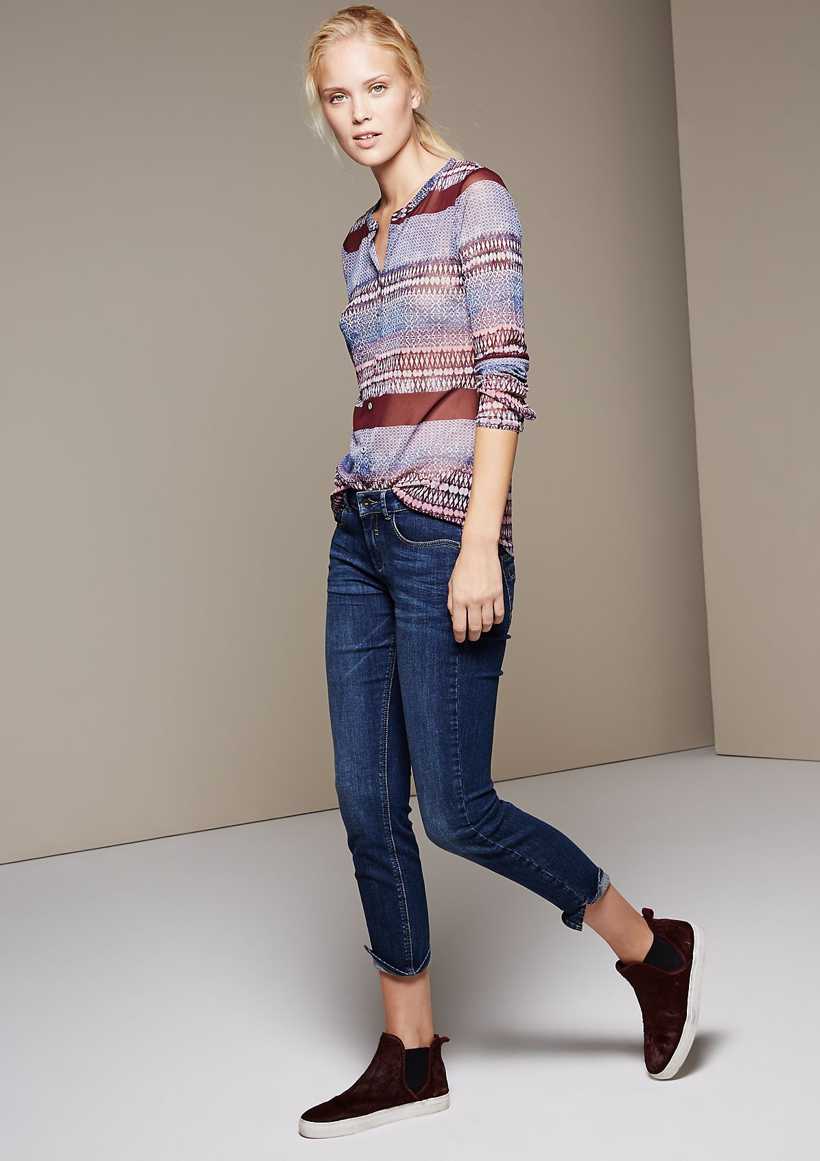 Delicate long sleeve mesh top with a pretty mixed pattern from s.Oliver