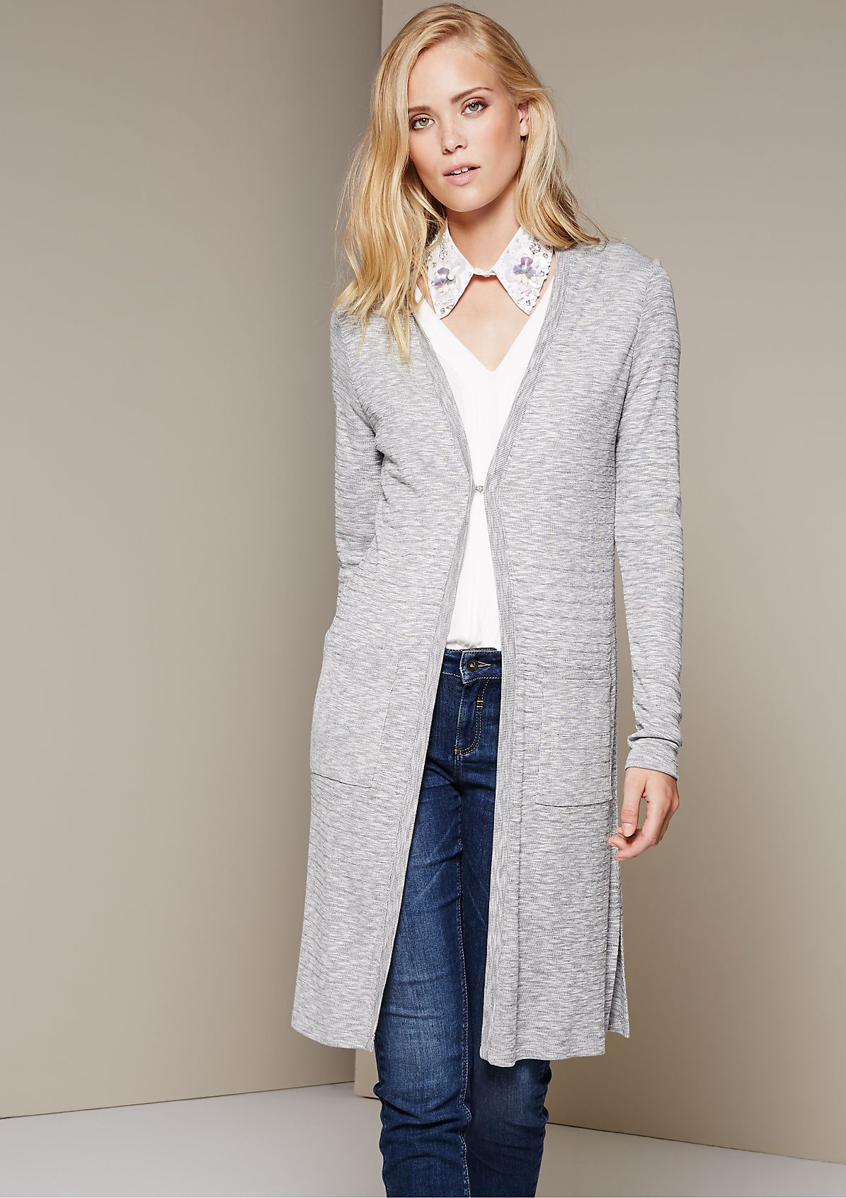 Casual long cardigan with a mottled finish from s.Oliver