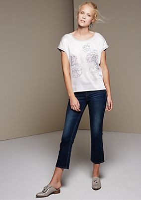 Short sleeve top in a mix of fabrics with an attractive printed pattern from s.Oliver