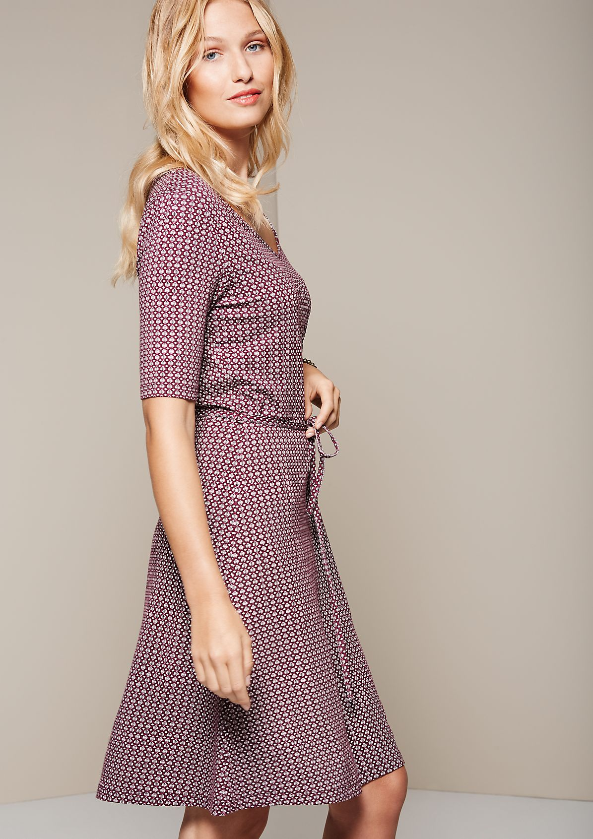 Lightweight short sleeve dress with a fine minimalist print from s.Oliver