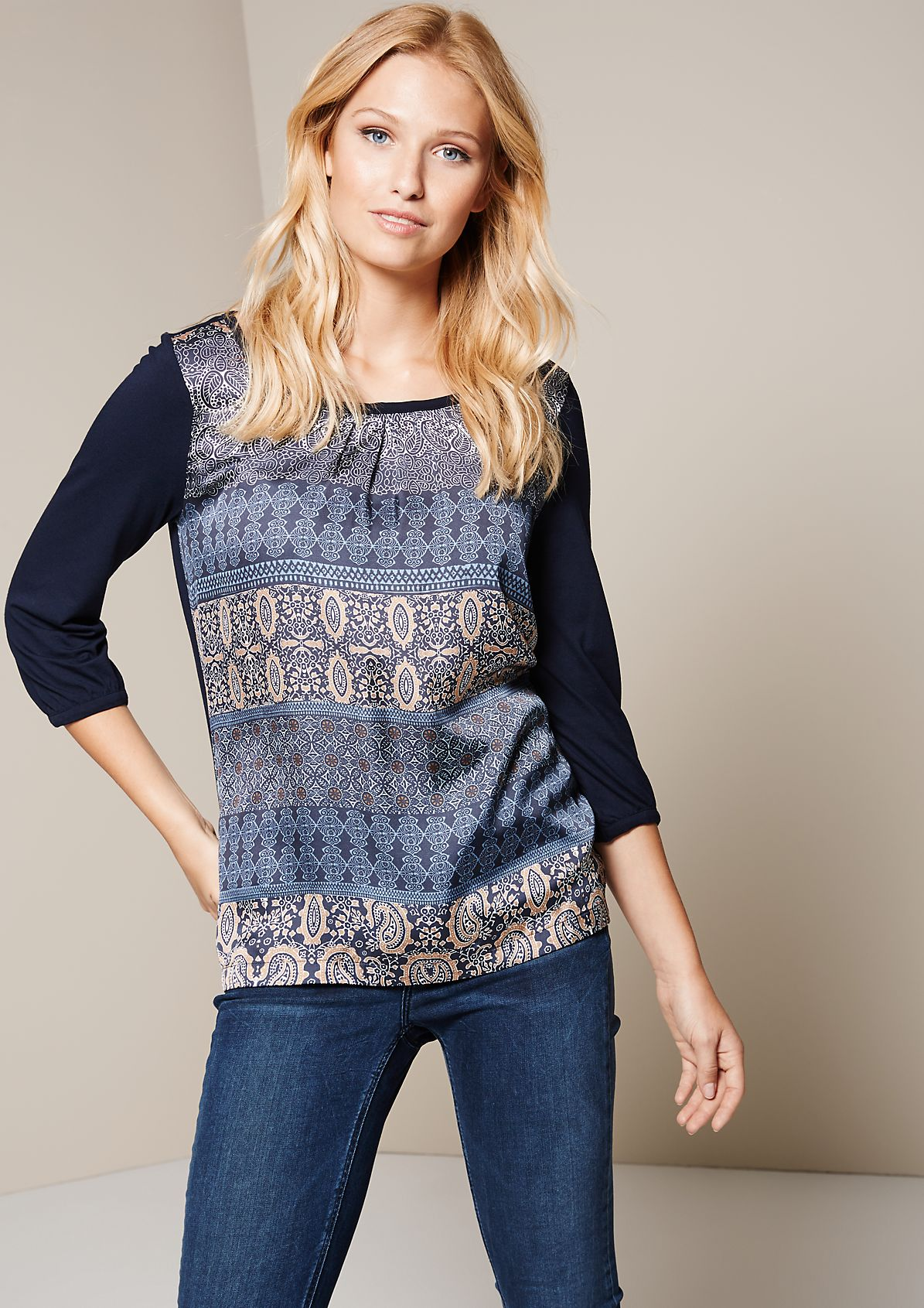 Elegant mixed fabric top with 3/4-length sleeves from s.Oliver