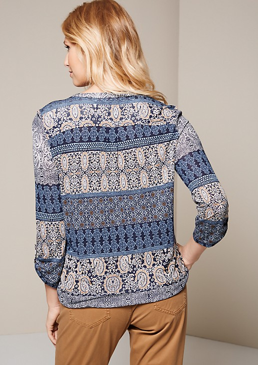 Lightweight top with 3/4-length sleeves and an attractive all-over pattern from s.Oliver