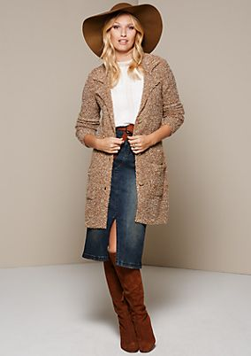Cosy bouclé cardigan with patch pockets from s.Oliver
