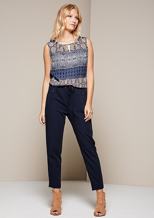 Casual, sporty trousers with drawstring ties from s.Oliver