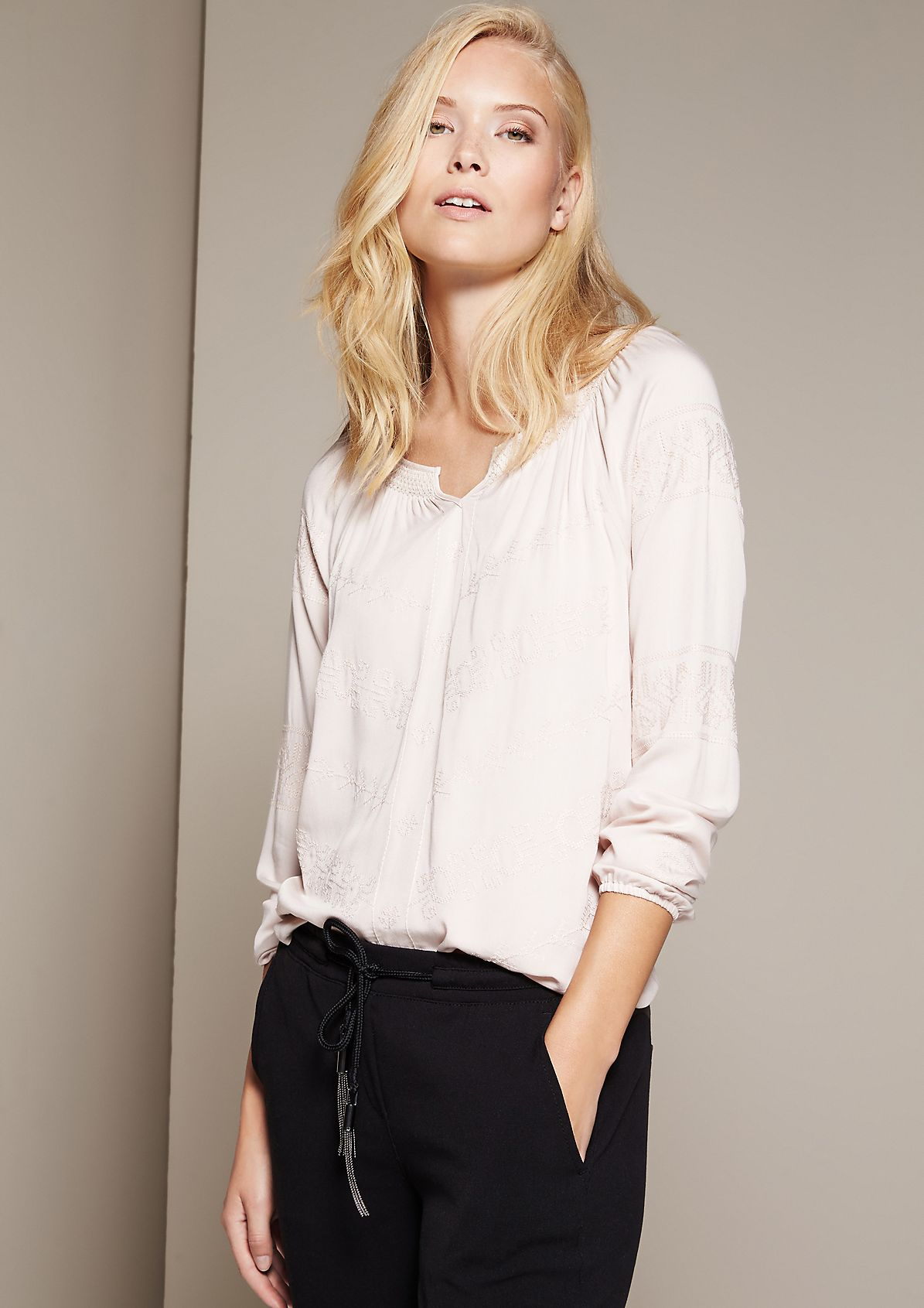 Elegant long sleeve blouse with extensive embroidery from s.Oliver