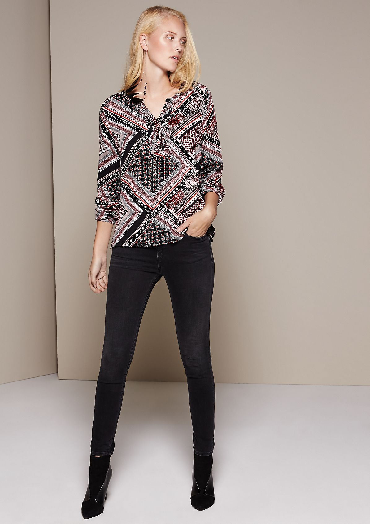 Elegant long sleeve blouse with a beautiful pattern from s.Oliver
