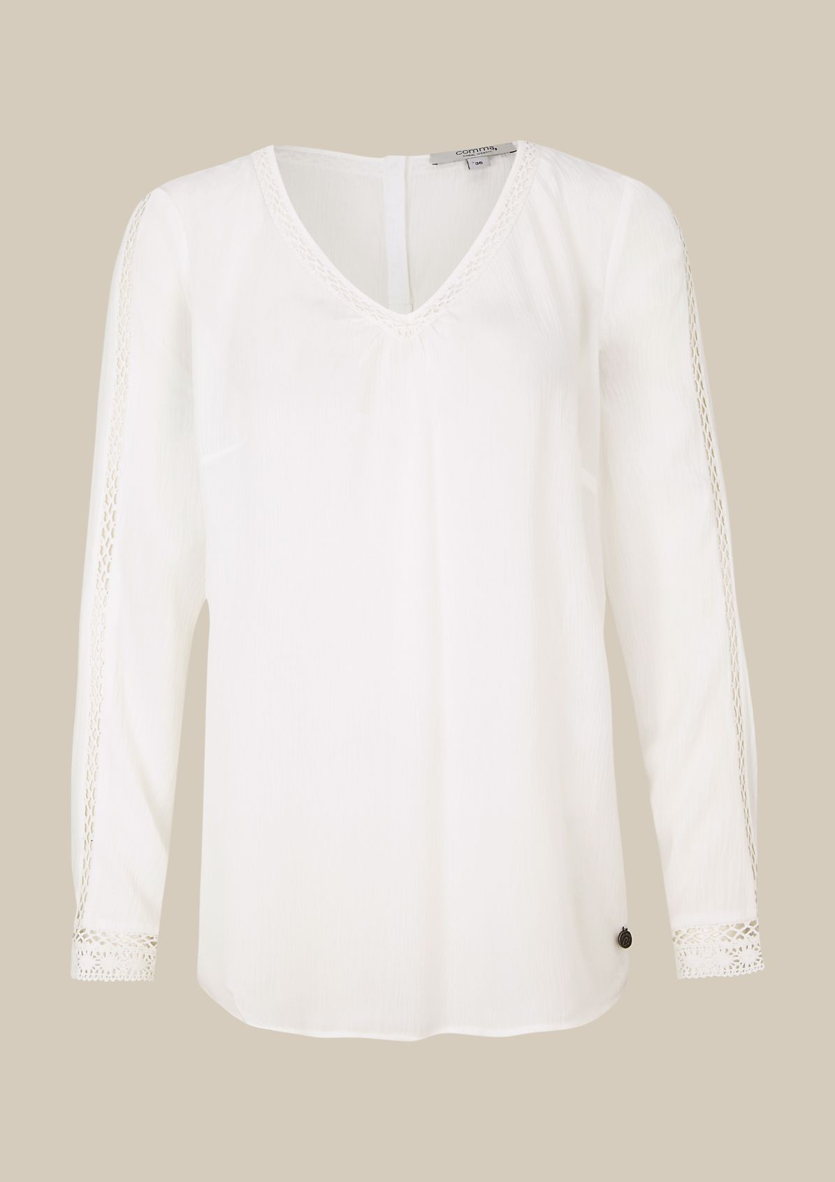 Casual crêpe blouse with lace details from s.Oliver