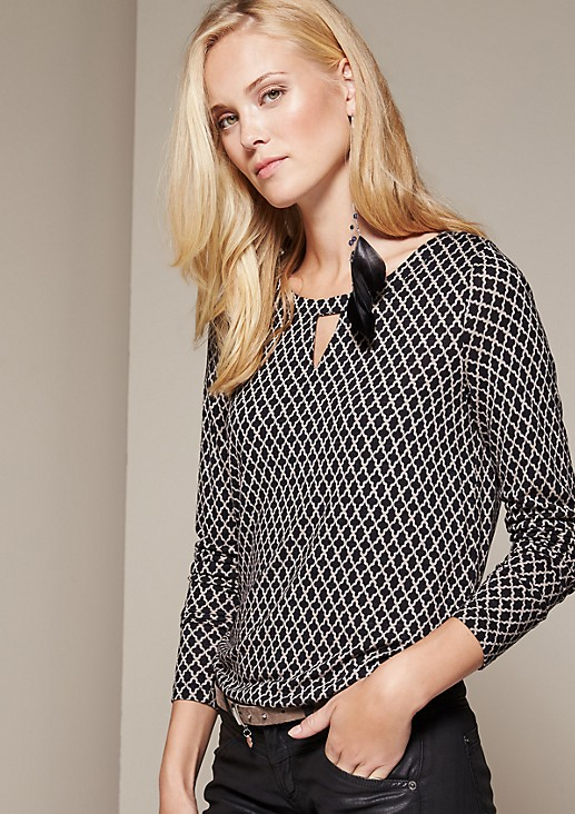 Casual long sleeve top with an elaborate all-over print from s.Oliver