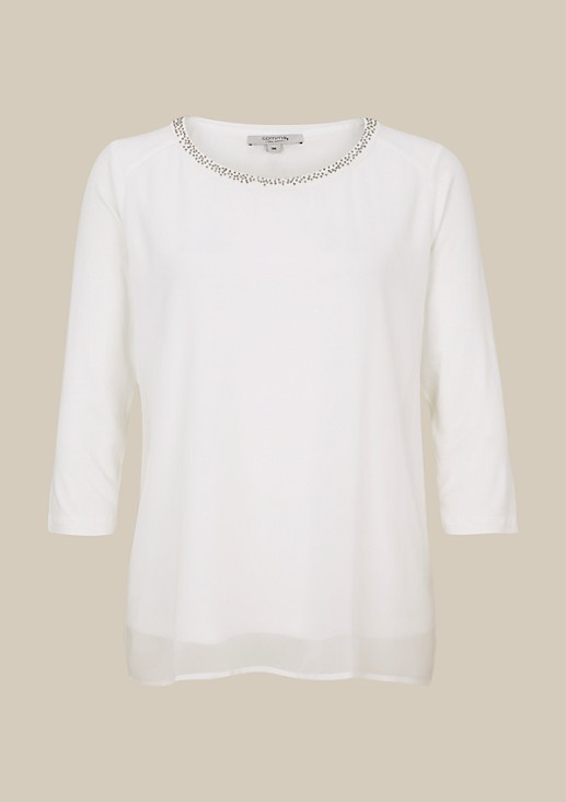 Elegant chiffon top trimmed with a glittering trim of decorative beads from s.Oliver
