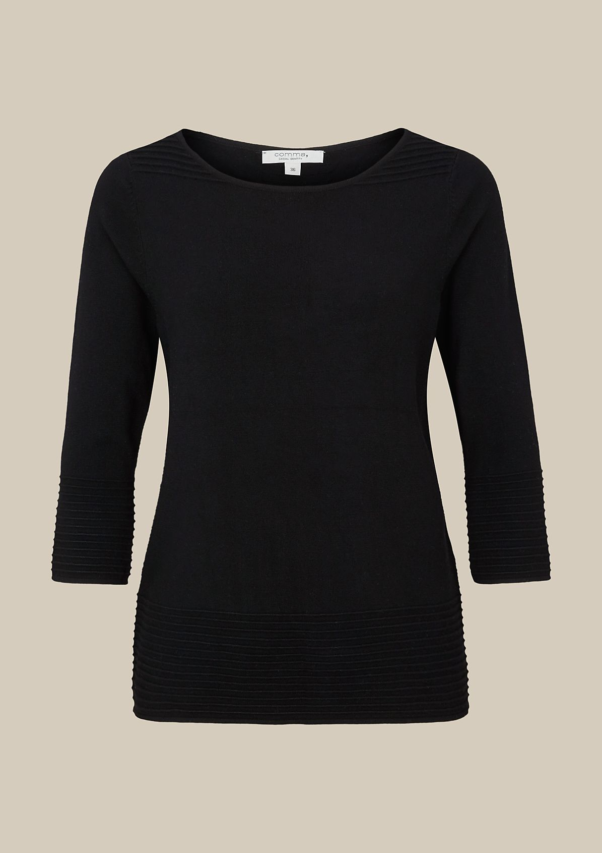 Fine knit jumper with 3/4-length sleeves from s.Oliver