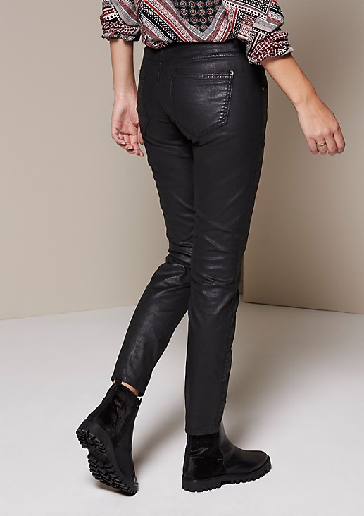 Jeans with a shiny matte coating from s.Oliver