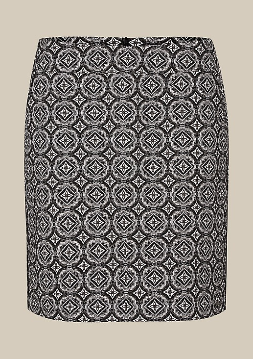 Short business skirt with a decorative jacquard pattern from s.Oliver