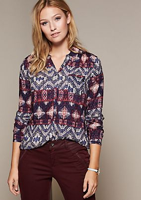 Casual long sleeve blouse with a colourful all-over print from s.Oliver