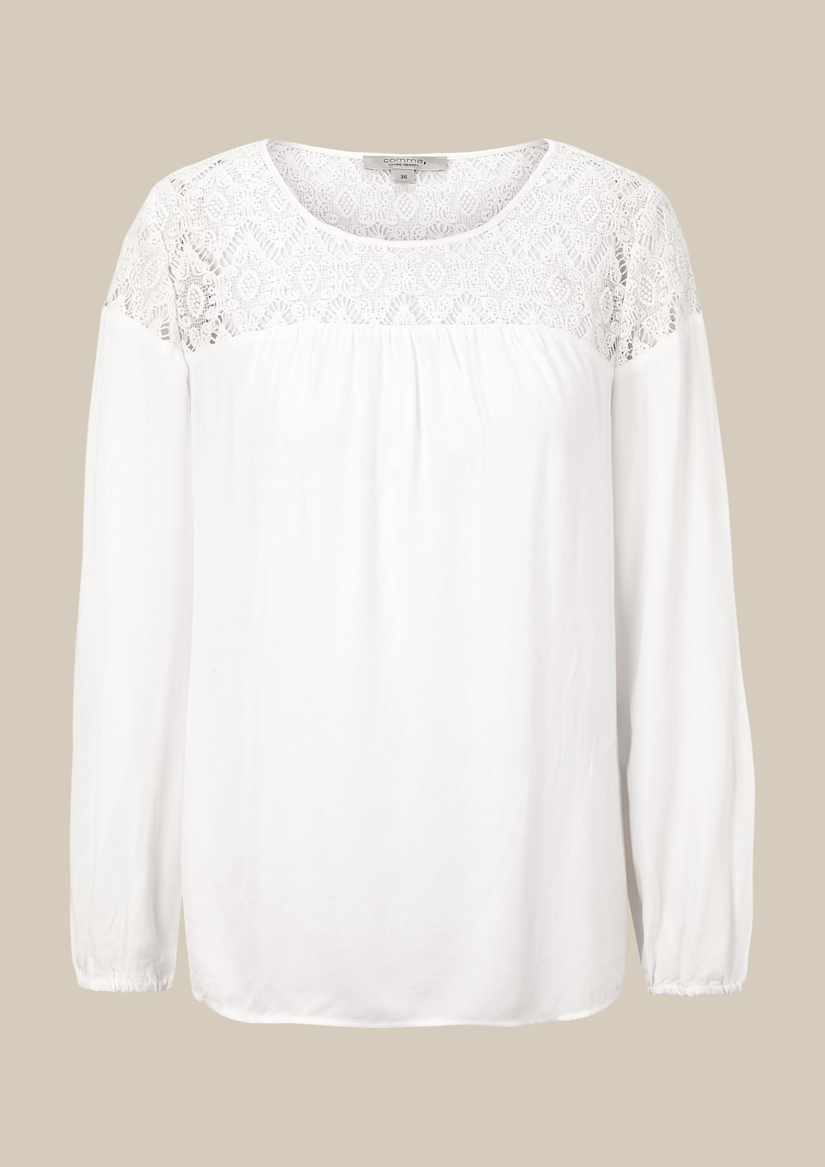 Casual satin blouse with a delicate lace trim from s.Oliver