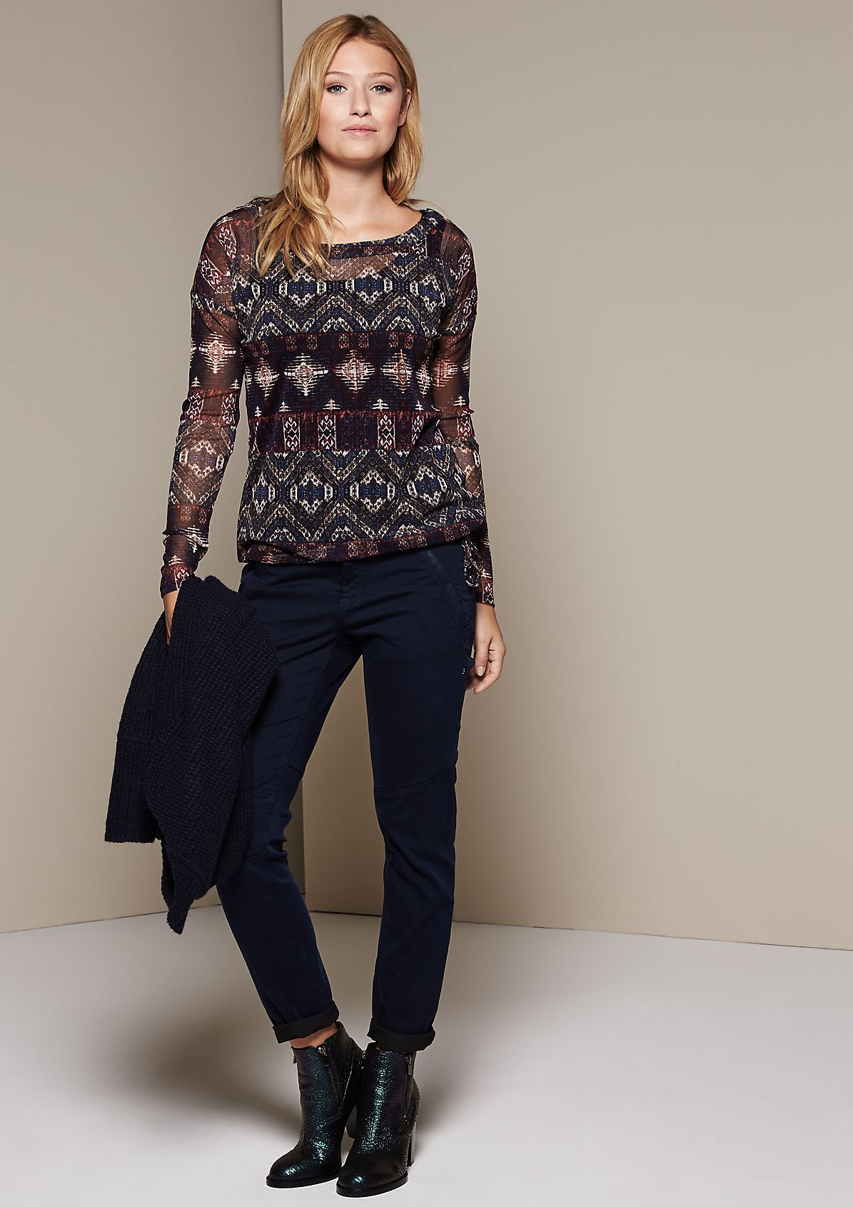 Long sleeve mesh top with a sophisticated all-over print from s.Oliver