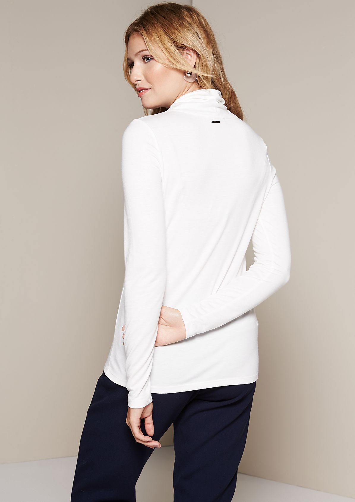 Casual long sleeve jersey top with a high roll neck collar from s.Oliver