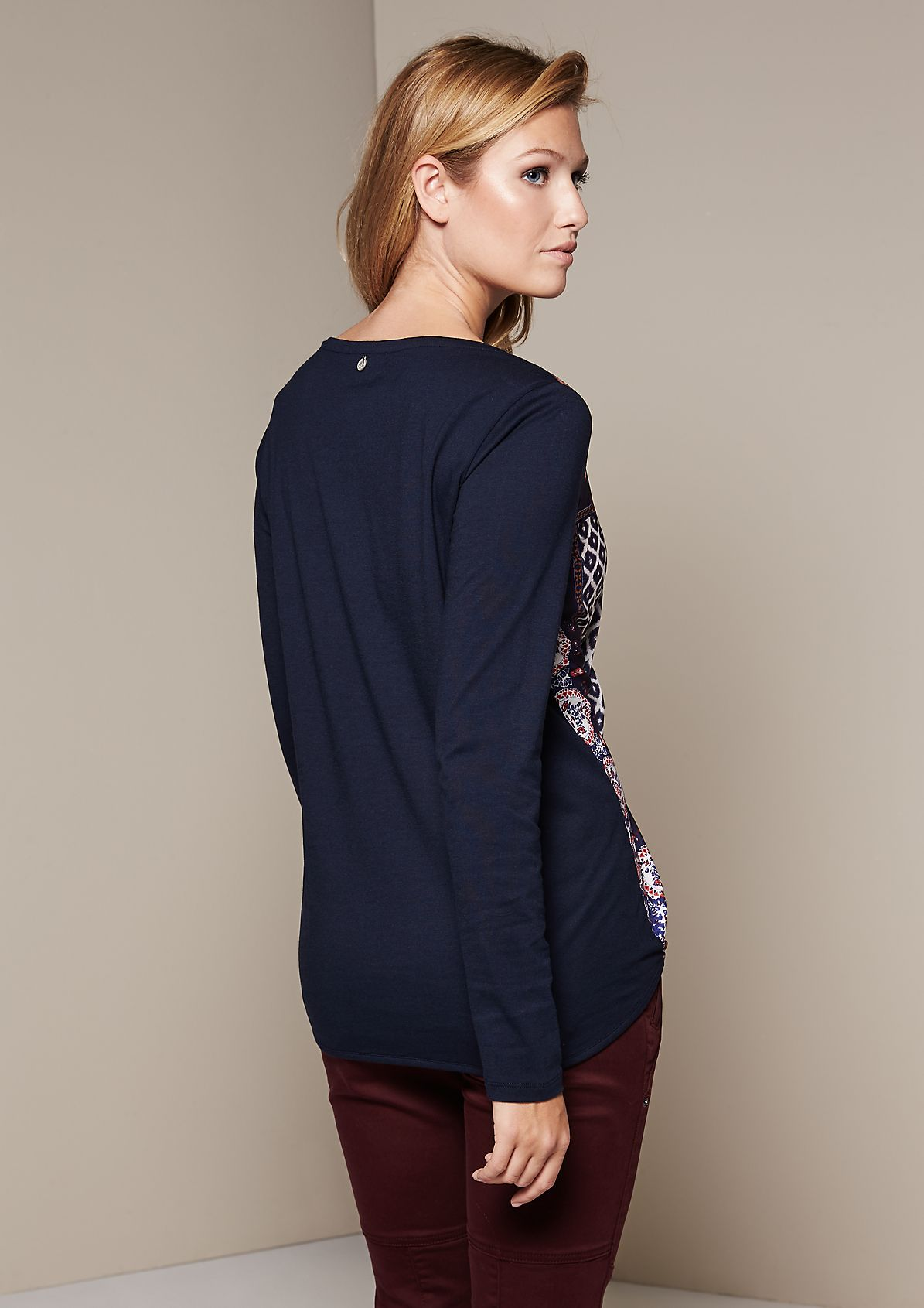 Beautiful long sleeve satin top with an elaborately designed printed pattern from s.Oliver