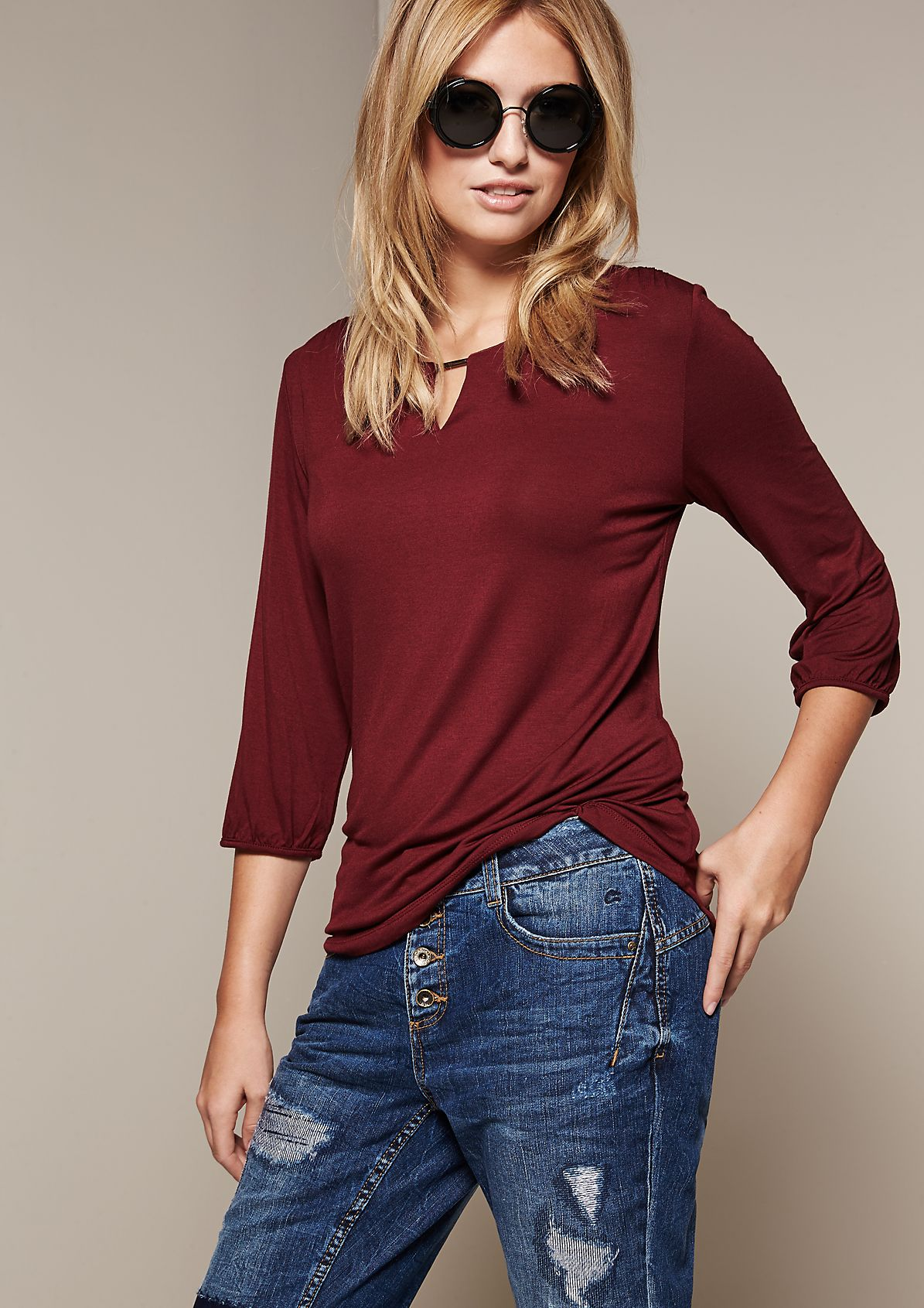 Soft jersey top with 3/4-length sleeves from s.Oliver
