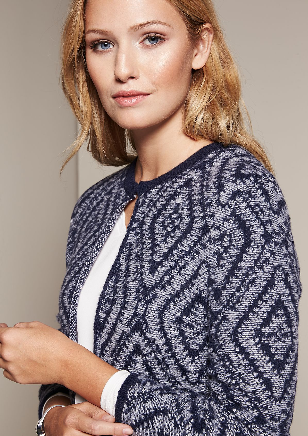 Casual cardigan with a decorative all-over print from s.Oliver