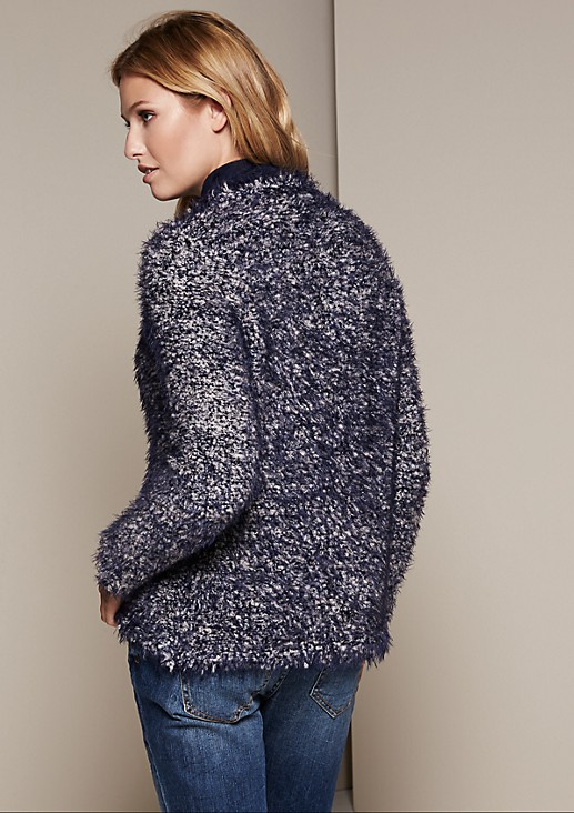 Fluffy long yarn cardigan in a two-tone look from s.Oliver