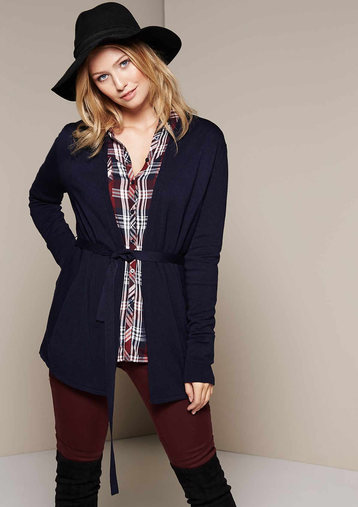 Classic long cardigan in a mix of patterns from s.Oliver