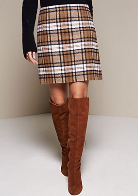 Elegant short skirt with a check pattern from s.Oliver