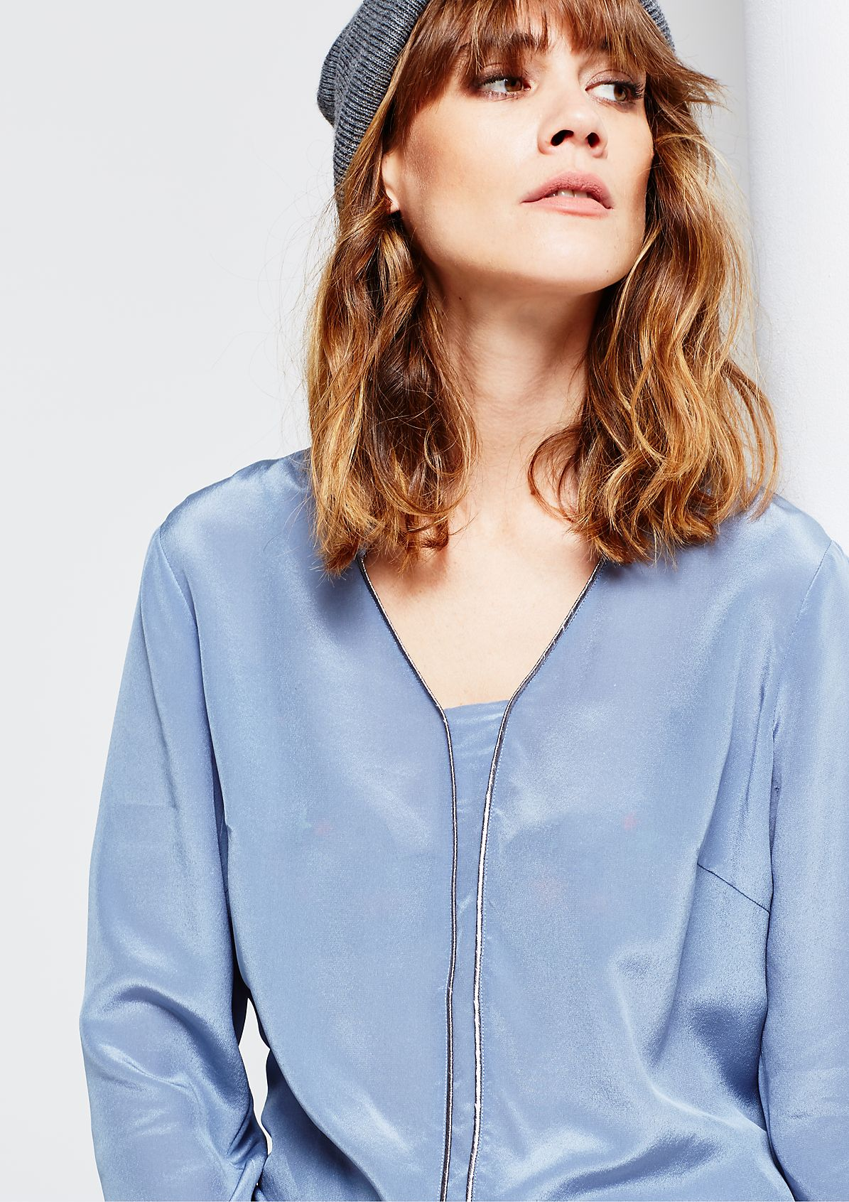 Delicate silk blouse with sophisticated details from s.Oliver
