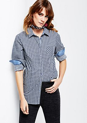 Elegant business blouse with an fine all-over pattern from s.Oliver