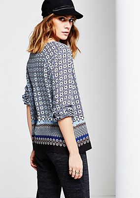 Airy long sleeve blouse with an opulent all-over pattern from s.Oliver