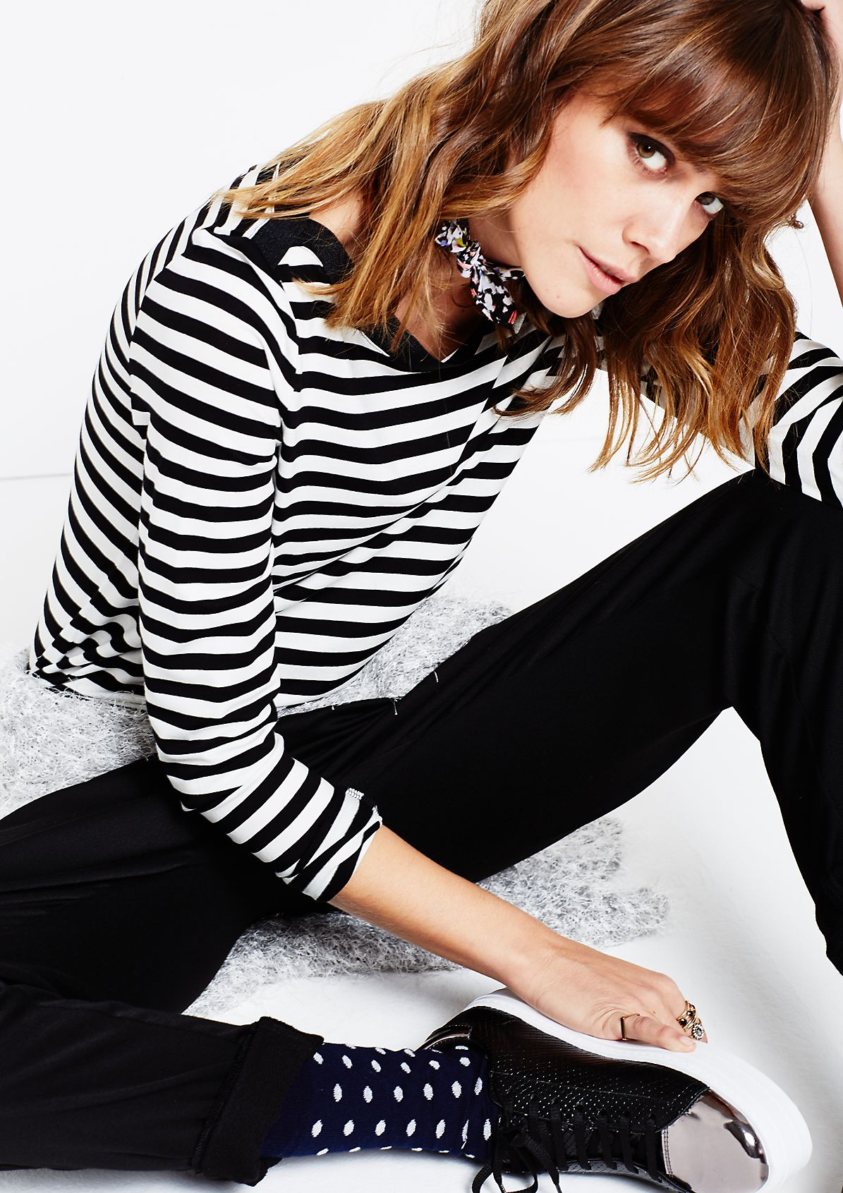 Sporty long sleeve jersey top with a classic striped pattern from s.Oliver
