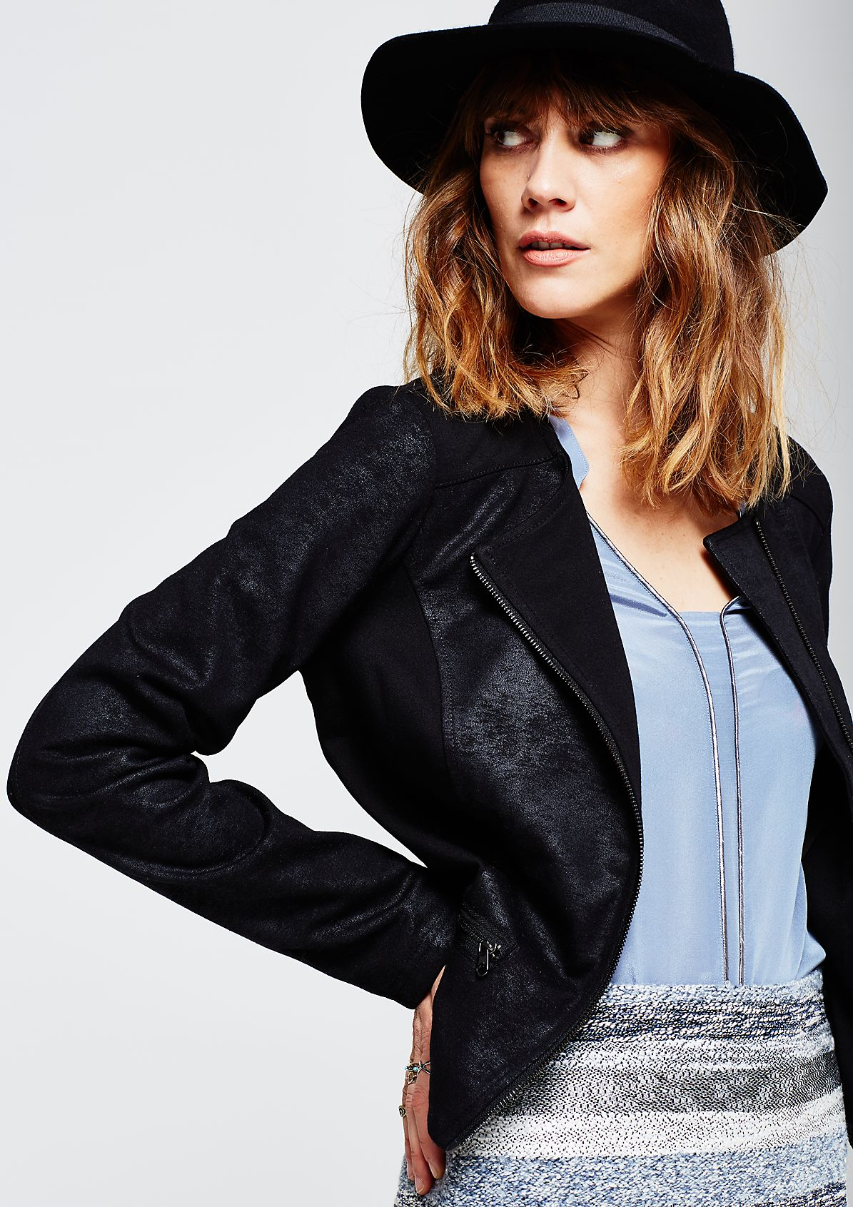 Short causal jacket with an imitation leather trim from s.Oliver