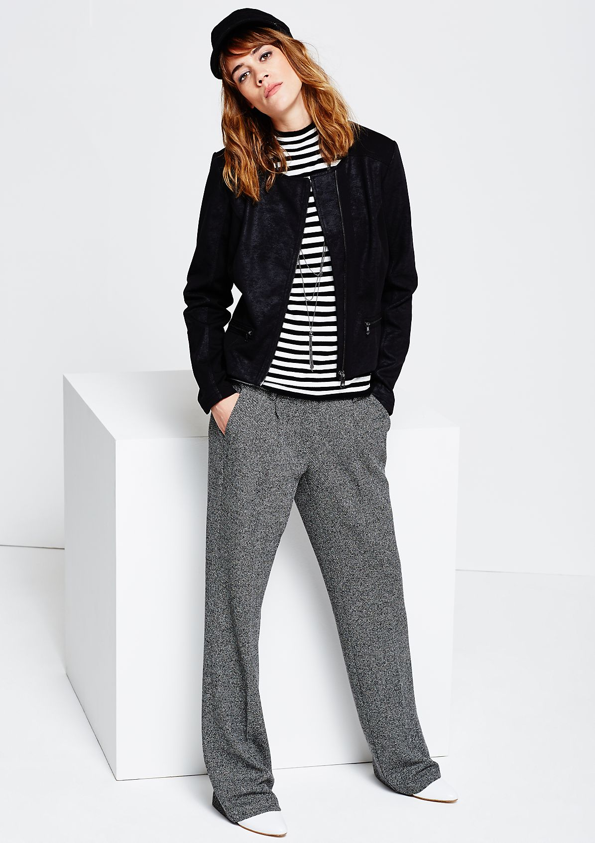 Elegant Marlene trousers in a salt-and-pepper look from s.Oliver