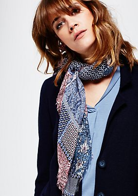 Asymmetric scarf with an elaborate all-over print from s.Oliver