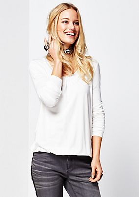 Casual jersey long sleeve top with a sparkling gemstone trim from s.Oliver