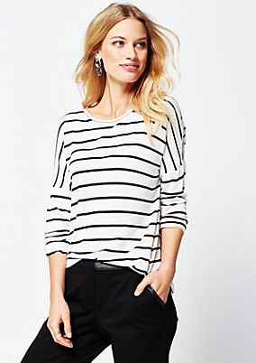 Casual jersey top with 3/4-length sleeves and a classic striped pattern from s.Oliver
