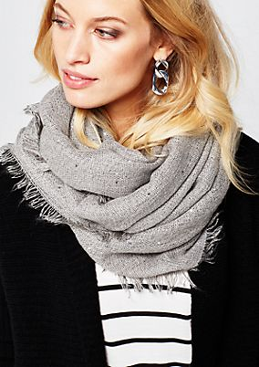 Cosy knitted scarf with a sparkling sequin trim from s.Oliver