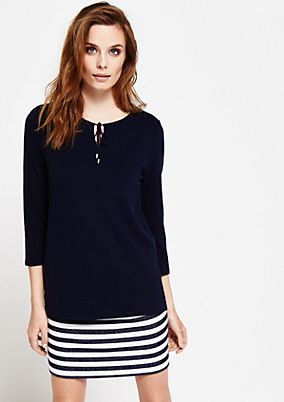 Casual, 3/4-sleeve top with a ribbed pattern from s.Oliver